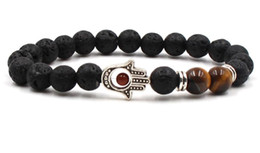 $enCountryForm.capitalKeyWord Australia - 8mm fg535 Hand Eye silver ball black stone volcanic lava nature black stone turquoise Bracelet Reiki Chakra Fashion