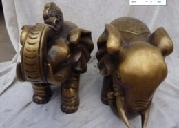 "Ship Carvings Australia - COPPER STATUE Shipping 10""Chinese Bronze carved eximous lifelikeLuck Z'Ru Yi"" elephant Statue Pair"