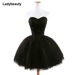 $enCountryForm.capitalKeyWord Australia - 2019 New Arrival Elegant Women Short Prom Dress Black Lace Up Princess Sweetheart Beading Fashion Women Black Prom Dress J190629
