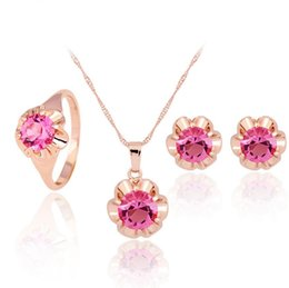 Discount bridal set ring - Pink Crystal Flower Charm Necklace Earrings Ring Jewelry Sets Rose Gold Bridal Wedding for Women Fashion Accessories Set
