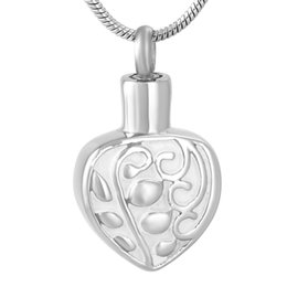 $enCountryForm.capitalKeyWord UK - Stainless Steel Leaf Carved Heart Shaped Casket for Ashes Urn Souvenir Pendant Necklace Commemorative with Chain Jewelry IJD9619