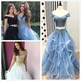 Holiday Evening Gowns Floor Length Australia - Two Piece Prom Dresses 2019 Off- Shoulder Top Lace Floor Length Evening Gowns Tiered Vintage arabic Real Holiday Party dress robes de soirée
