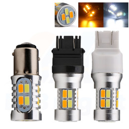 3157 tail bulb NZ - T25 3157 7443 1157 LED Tail Light 5630 20SMD Dual Color White Amber white yellow LED Bulbs Car Turn Signal Lights DRL 2Pcs