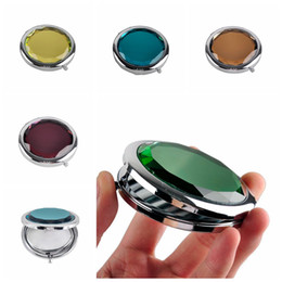 Middle Mirror online shopping - Crystal Cosmetic Mirror Magnifying Make Up Compact Mirror Metal Pocket Mirror Wedding Gift customize logo is ok