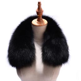 Black Fur Scarves Australia - Women Real Fox Fur Collars for Coat Jacket Solid Black Color Scarves Female Fashion Warm Genuine Fox Fur Winter Scarf D19011004
