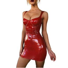 strapless strap Australia - Spaghetti Strap Strapless Backless Leather Sexy Dress Night Club 2019 Summer Package Hip Mini Bodycon Dress Women Vestidos