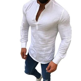 Linen Slim Shirts Australia - Aowofs 2019 Sexy New Men Long Sleeves Blouse Summer Fashion Casual Cool Clothing Slim Fit Tees Tops Male Breathable Linen Shirt