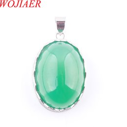 egg gifts Australia - WOJIAER Love Summer Egg Shape Decoration Green Agates Stone Statement Suspension Charms Pendant Female Gift 18 Inches DN3673