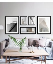 Decorative Metal Wall Australia - Living room decorative painting sofa background wall modern simple wall combination hanging painting Nordic style wall painting black and wh