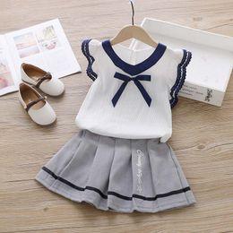 $enCountryForm.capitalKeyWord Australia - Girls summer clothes sets new children fashion cotton bow t-shirts+tutu dress 2pcs tracksuits 4T for girl kid wedding clothing suits 2T-6T