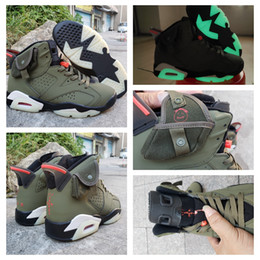dark green basketball shoes Australia - 2020 New Arrived Travis Scotts 6 OG Cactus Jack Glow In Dark 3M Reflective Army Green Men Designer Basketball Shoes 6s Sports Sneakers 7-13