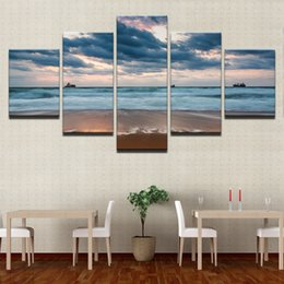 Wave Canvas Print Australia - HD Prints Painting Home Decor Canvas Living Room Framework 5 Piece Sea Waves Beach Pictures Cloudy Boat Seascape Poster Wall Art