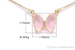 pink butterfly glasses Australia - Luxury jewelry women pink purple glass butterfly designer necklaces copper with gold plated pendant necklaces for girl fashion style