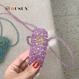 make hand made bags Australia - Fashion Mini Hand Made Pearls Beading Lipstick Bags Women Shoulder Crossbody Bag Small Beaded Messenger Bag Lady Party Purses