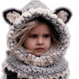 c16d669ab Children Fox Ear scarf cap 2 in 1 Kids Girls Warm Knitted Hats Cute cartoon  warmer Winter crochet Hat Beanies 120pcs AAA1610