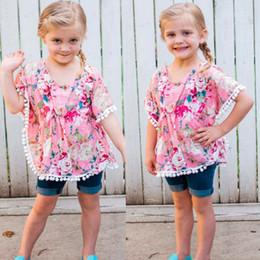 Girls Tassel Shirt Australia - MUQGEW 2019 New Fashion Summer shorts T-shirt Floral Tassel Beach Cover Ups Tops Kaftan Clothes Toddler Baby Girl T-shirt 24