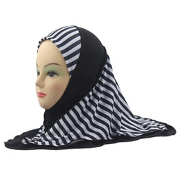 $enCountryForm.capitalKeyWord NZ - 2018 Girls Kids Muslim Hijab Islamic Arab Scarf Shawls Stripe Pattern Double Layers about 45cm