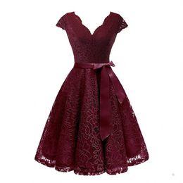 $enCountryForm.capitalKeyWord Australia - Fashion-Aovica V-Neck Lace Knee-Length Women Dresses With Short Sleeves Dress For Women Female Vestidos New Arrival Chic Cheapest Price