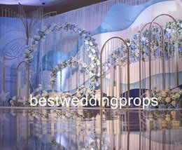 Wholesale mental stand only Wedding Road Lead Flowers Long Table Centerpieces Flower Arch Door for Wedding Party Backdrops Decoration best0497