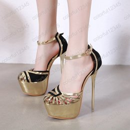 Wedding Closed Toe Pumps Australia - Gold Women Dress Shoes Sexy Hollow Out Womens Shoes Heels Fashion Closed Toe Sandals Ladies Pumps 17cm Heel Women High Heels