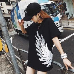 $enCountryForm.capitalKeyWord Australia - 2019 Women's T-shirt New Casual Fashion Wing Feather Print Soft Breathable Loose Plus Size Shirts Cotton Blend Size S-XL