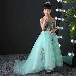 $enCountryForm.capitalKeyWord UK - 2019 Kids Girl Fancy Flower Embroidery Pageant Ball Gowns Dress Children Girl Luxury Trailing Princess Birthday Party Dress L37