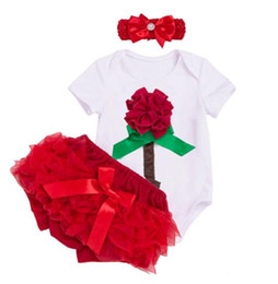 $enCountryForm.capitalKeyWord UK - Hot Sale Baby Clothing sets Cotton White Bodysuits rose red shorts Girl Newborn Original Flower Valentine Day Clothes