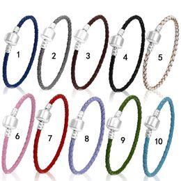 $enCountryForm.capitalKeyWord Australia - 3MM PU Leather Braided Chain Wrap Bracelet Fit European DIY beads Charm Bangle For women & men s Fashion Jewelry in Bulk
