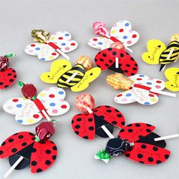 $enCountryForm.capitalKeyWord Australia - 50Pcs Cute Bees Ladybug Butterfly Candy Paper Lollipop Decoration Card Wedding Kids Birthday Party DIY Gift Accessories