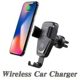 Wholesale C12 Wireless Car Charger W Fast Wireless Charger Car Mount Air Vent Gravity Phone Holder Compatible With iPhone Samsung LG All Qi Devices