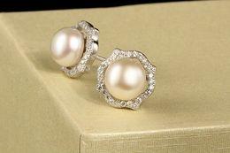$enCountryForm.capitalKeyWord Australia - original s925 sterling silver jewelry earrings woman plants flower pearl zirconia luxurious elegant sent mum mother day gifts 11x11mm 6 pair