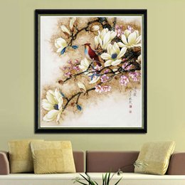 New Fashion Bird Paintings Australia - New 5d Diy Embroidery Cross Stitch Magnolia Crystal Round Diamond Flower And Bird Adornment Picture Q190511