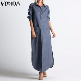 Full Button Dresses Australia - Vonda Women Maxi Long Dress 2019 Autumn Sexy V Neck Full Sleeve Striped Buttons Split Asymmetric Casual Loose Vestidos Plus Size Y19053001