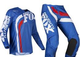 NOVA 2019 NAUGHTY Fox Mens Azul / Branco 180 Cota Dirt Bike Jersey Calças Kit Combo Adulto Motocross Engrenagem Set MX / ATV bicicleta Da Sujeira venda por atacado
