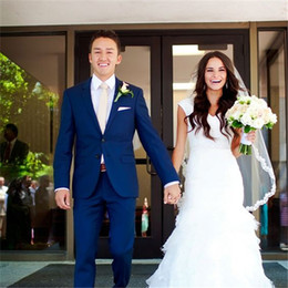 Piece Suits Designs Blue Color Australia - New Fashion Royal Blue Wedding Suit For Men 2 Piece(Jacket+Pant+Tie) Two Button Latest Design Groom Bridegroom Tuxedos Blazer