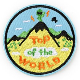 $enCountryForm.capitalKeyWord NZ - UFO Alien Top of The World Embroidered Patch Iron On Patch Sewing Applique Clothes Patch Stickers Apparel Accessories
