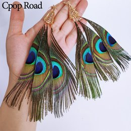 earrings peacock feathers UK - Cpop Customizable 3 Pieces Nature Long Peacock Feather Earrings Boho Ethnic Feather Tassel Statement Earrings Women Jewelry Accessories Gift