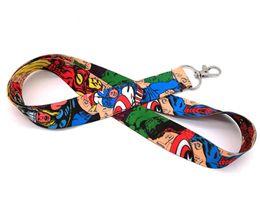 Superhero Keychains Canada - New Mix Style Superhero Spider-Man Hulk Raytheon Captain America Lanyard NEW Keyring ID Holder Phone Strap
