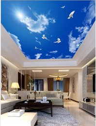 Sky ceiling wallpaper online shopping - Fresh blue sky and white clouds white dove living room bedroom ceiling mural eiling silk Wall Mural Wallpaper