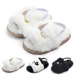 568d848deba43 Nouveau bébé sandales de fourrure 2019 été mode enfants Licorne chat panda  pantoufles infantile First Walkers nouveau-né Walkers chaussures C6239
