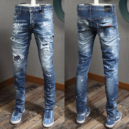 Wholesale golds effect for sale - Group buy Blue Jeans Mens Pocket Patchwork Patches Stitch Detail Elastic Damage Denim Pants Ripped Effect Cowboy Trousers