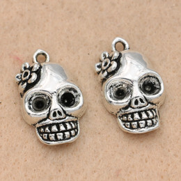 $enCountryForm.capitalKeyWord NZ - kull charm pendant KJjewel Tibetan Silver Plated Skull Charms Pendants For Jewelry Making Findings Bracelet Diy Craft Handmade 22x13mm 10...