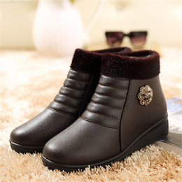 wedged shoes for winter NZ - new Winter Women Ankle Boots New Fashion Flock Wedge Platform Winter Warm Red Black Snow Flat Boots Shoes For Female Plus Size