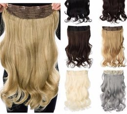 Clip Hair Wavy Australia - 190g Wavy Clip In Hair Extensions Grey 24 Inch 17 Colors Available Synthetic Heat Resistant Fiber Clip