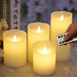 remote control dance Canada - set of 4 Pillar LED Candle Light Remote controlled paraffin Wax Dancing Moving wick Wedding Home party Dia.8CM-(H)10 12 15 18CM T191026