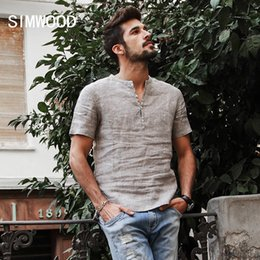 linen shirts NZ - Simwood 2019 Summer Shirts Men 100% Pure Linen Shorts Sleeve Striped Slim Fit Henry Collar Tops Brand Clothing Cd017004 C19042101
