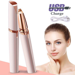 Electric Lipstick NZ - Eyebrow Hair Remover Electric Painless Eyebrow Trimmer Lipstick Epilator for Women Portable Eyebrow Hair Removal Razor With USB Rechargeable
