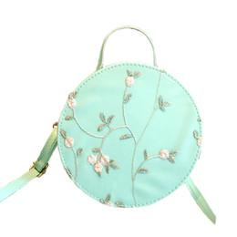 $enCountryForm.capitalKeyWord Australia - Fashion Women Embroidery Crossbody Bags Round Tote Handbags Shoulder Bag Floral Shoulder Bag Pink white blue
