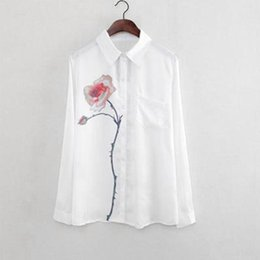 White Rose Pattern Australia - New Spring White Women Long Sleeve Rose Flower Pattern Blouse Turn Down Collar Chiffon Slim Shirts For Office Ladies