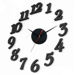 Digital clock numbers online shopping - Diy Black White Mute Wall Clock Number Quartz Digital Hotel Living Room Bedroom Decorate Creative Wall Clocks nsD1
